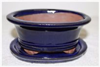 Bonsai Pot, Oval (H), 15cm, Blue (Dark), Glazed, Saucer